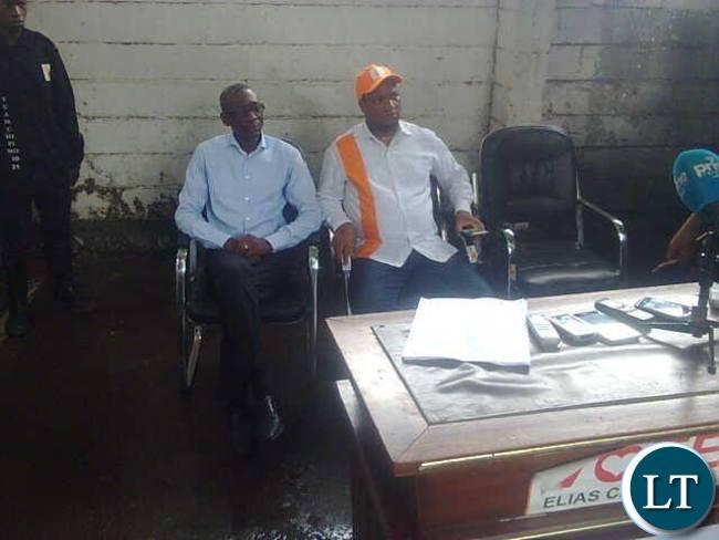 Elias Chipimo and Miles Sampa at the press briefing this morning