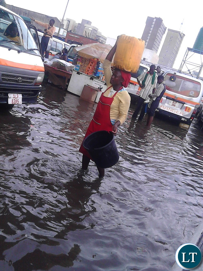 Kulima Tower station floods during recent rains in Lusaka