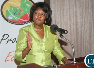 Zambia International Investment Forum 2016 Launch: Zambian Minister of Commerce, Trade and Industry Margaret Mhango Mwanakatwe delivering her speech