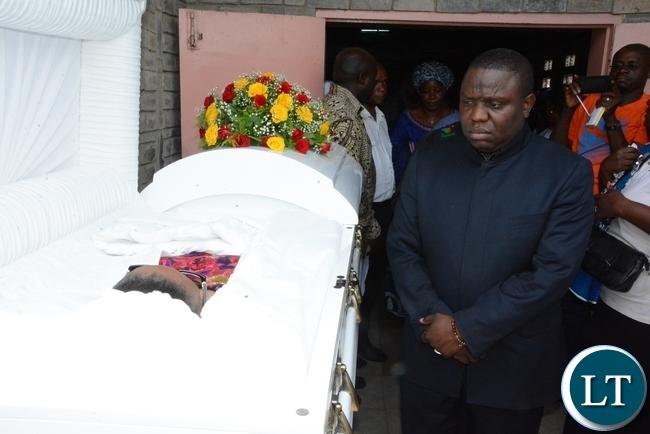 Foreign Affairs Minister Harry Kalaba body view the late ZNBC staff Faith Kandaba at the Church Service at Saint Pauls Catholic in Lusaka