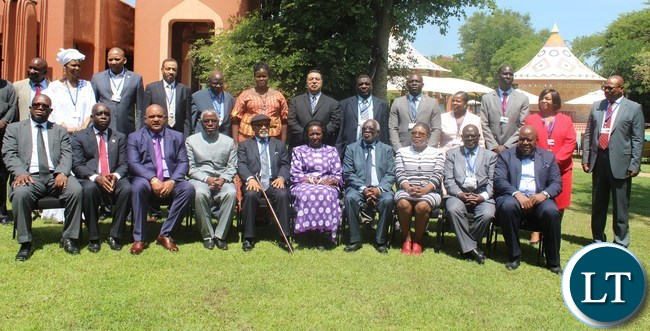VICE President Inonge Wina (5th from left) posse for a group photo with African Regional Labour Administration Centre (ARLAC) delegates at Avani Victoria Falls Resort in Livingstone on Wednesday. On her left is Labour Minister Fackson Shamenda and on her right are ARLAC Vice Chairperson Dr. Chris Ngige, Southern Province Minister Nathaniel Mubukwanu and Livingstone Member of Parliament Lawrence Evans.