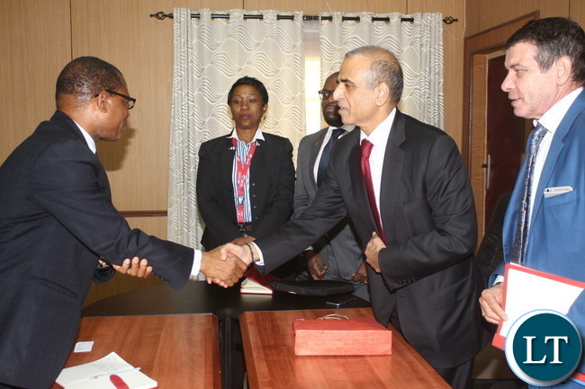 Bharti Airtel CEO and Chairman Sunil Bharti Mittal visiting the Minister of Transport and communications Kampembwa Simbao