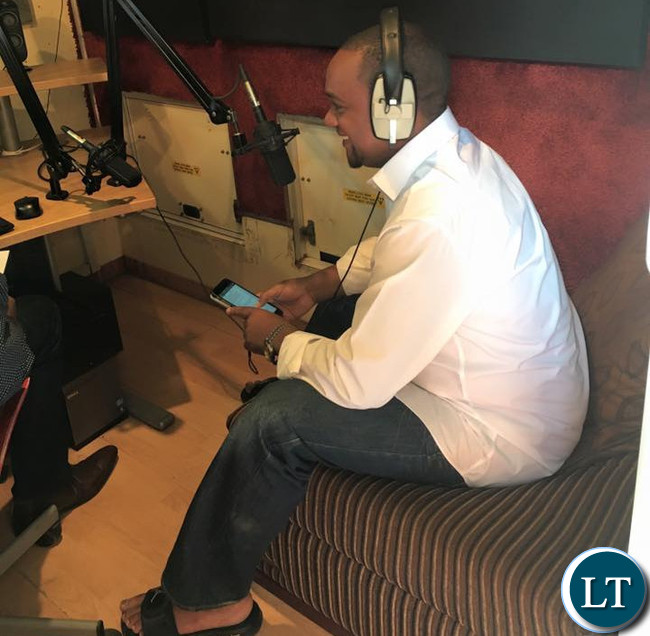 In a relaxed mood-Miles Sampa during the radio interview