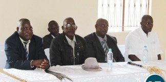 PRESIDENT Edgar Lungu (r) with Senior Chief Nalubamba (4th left), Senior Chief Mungaila (3rd left), Chief Muchila (2nd left) and Chief Mukobela (far left) during the meeting at Corner Point lodges in Namwala district