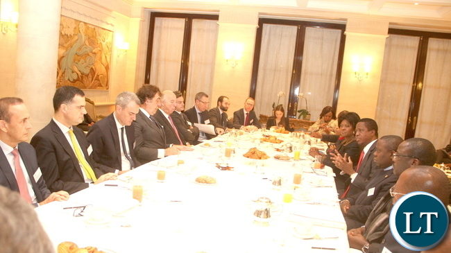President Lungu during a breakfast meeting with the French Council of Investors in Africa at Le Meurice Hotel in Paris on Feb 8,2016 –Picture by THOMAS NSAMA