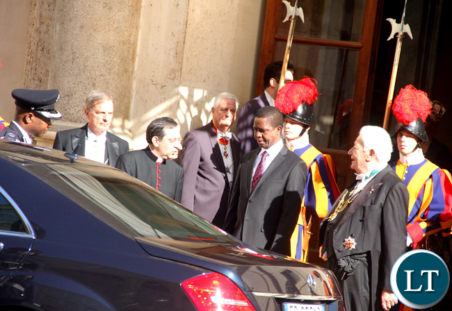 President Lungu leaves after visiting the Pope at Vatican on Feb 5,2016 -Picture by THOMAS NSAMA