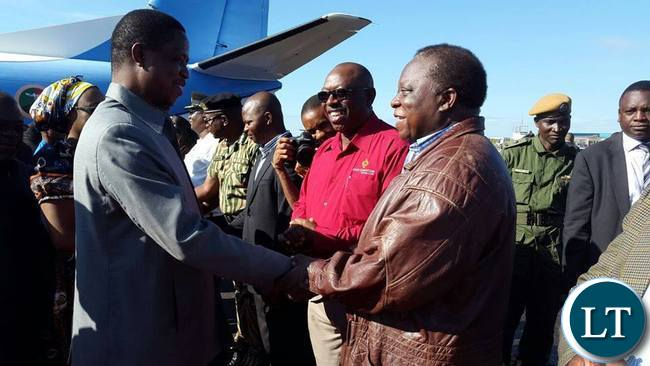 President Lungu with Enock Kavindele on arrival