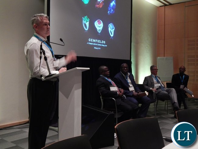 Mr. Harebottle making his presentation at the Country Case Study on Zambia session at the 2016 Mining Conference in Cape Town on 10th February