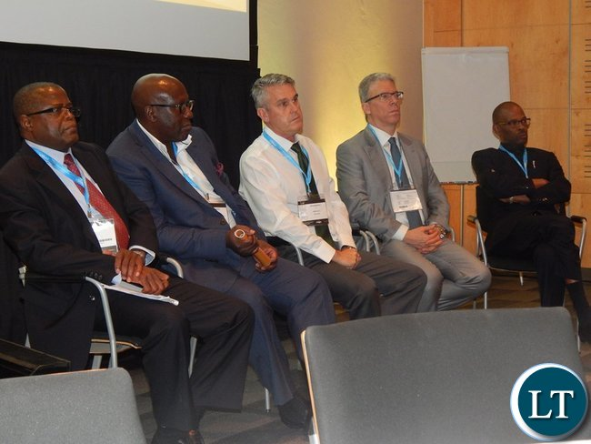 Mr. Yaluma, Dr. Kasolo, Mr. Harebottle, Mr. Albanese and Mr. Mvunga on the panel discussion of the Country Case Study on Zambia session at the 2016 Mining Conference in Cape Town on 10th February