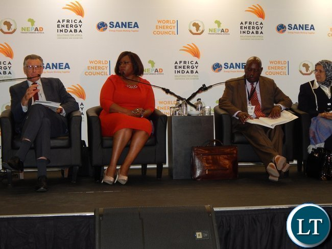 South Africa's Deputy Director General for Energy Dr. Wolsey Barnard, Zambia's Minister of Energy and Water Development Ms. Dora Siliya and Zimbabwe's Minister of Energy and Power Development Mr. Samuel Undenge during a panel discussion at the Africa Energy Conference in Johannesburg