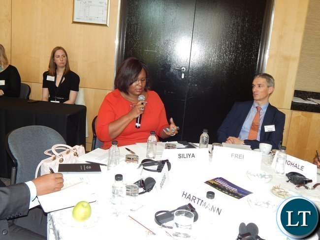 Zambia's Energy and Water Development Minister Ms. Dora Siliya speaking during the Trilemma Ministerial Roundtable discussion at the Africa Energy Conference in Johannesburg