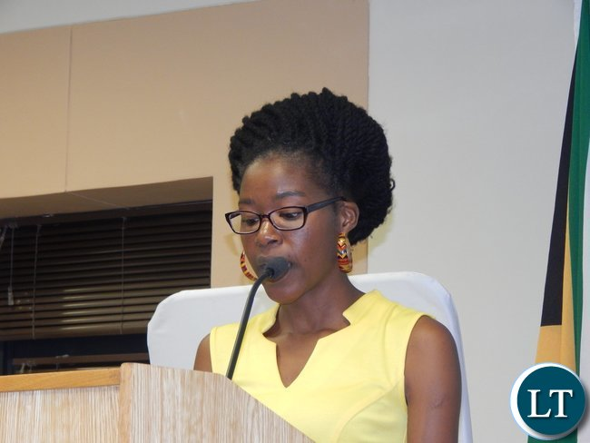Zambia's Christabel Mwango gives a vote of thanks on behalf of her colleagues at the graduation ceremony of 130 youths from the Southern African region at the University of South Africa in Pretoria on 25th February, 2016