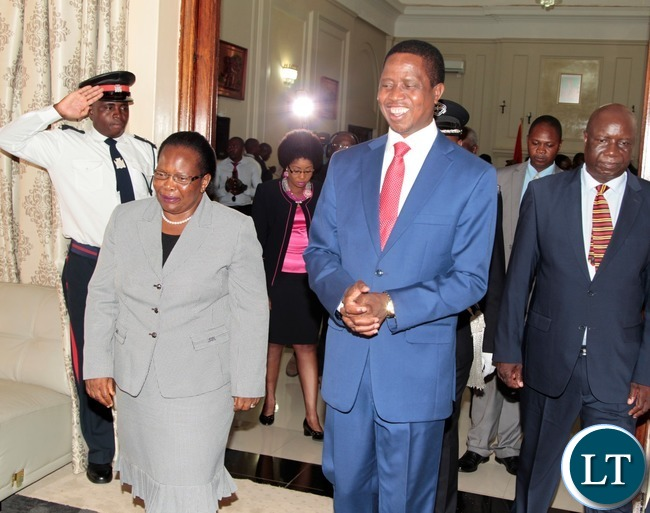 President Edgar Lungu and Chief Justice Ireen Mambilima shortly after swearing in Ceremony of  Constitutional Court Judges at State House