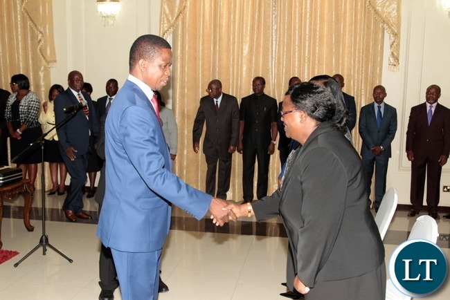 President Edgar Lungu congratulates newly appointed Constitutional Court President Hildah Chibomba shortly after swearing in Ceremony of  Constitutional Court Judges at State House