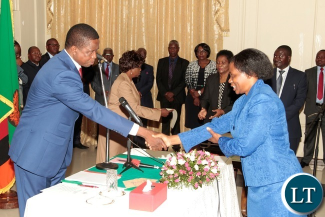 President Edgar Lungu congratulates newly appointed Constitutional Court judge Justice Mulenga Mugeni at State House