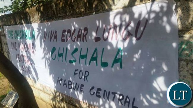 Banners in support of Mr Chishala's adoption call