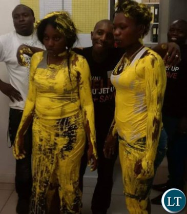 Girls caught stealing painted in yellow at Levy Mall