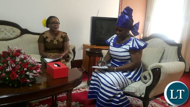 Mrs. Monde Mwamba when she paid a courtesy call on First Lady, Mrs. Esther Lungu at State House on 4th March, 2016.