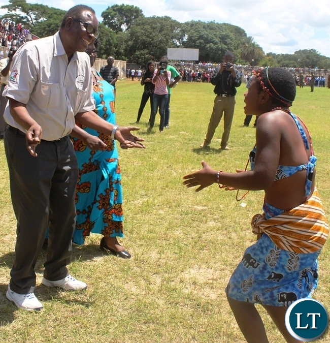 Health Minister Joseph Kasonde joins Makululu secondary school dance troupe during this year's Youth Day celebrations in Kabwe. PICTURE BY SUNDAY BWALYA/ZANIS.