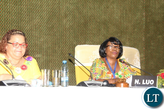Nkandu Luo and  Margaret Mensah Williams at the IPU conference
