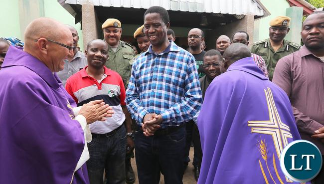 resident Edgar Lungu Greets Fr Waldermar at Nabwalya Parish at Attending Church Service