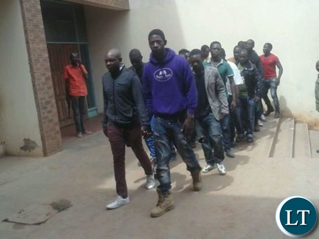 The youths arriving at the Magistrate Court