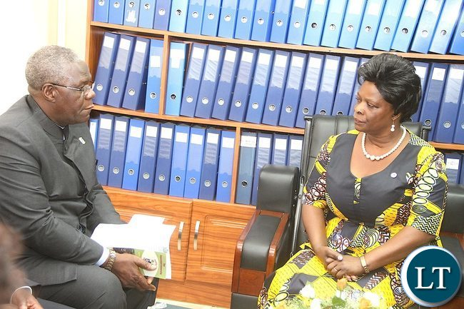 First Lady Esther Lungu when she paid a courtesy call on CBU vice chancellor Naison Ngoma at Copperbelt University during the International Women's Day Commemoration