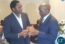 HH meeting Fred M'membe at the Julia Chikamoneka awards