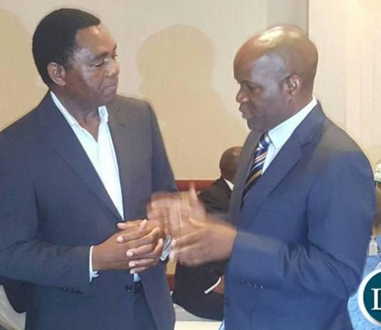 HH meeting Fred M'membe at the Julia Chikamoneka awards