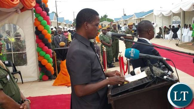 President Lungu Commissioning the Houses for Police Officers