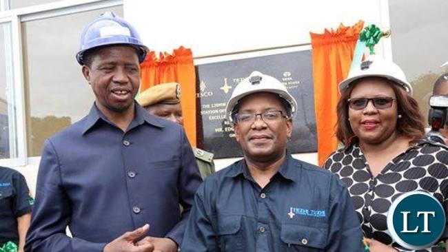 President Lungu with Zesco managing Director Victor Mundende and Energy Minister Dora Siliya