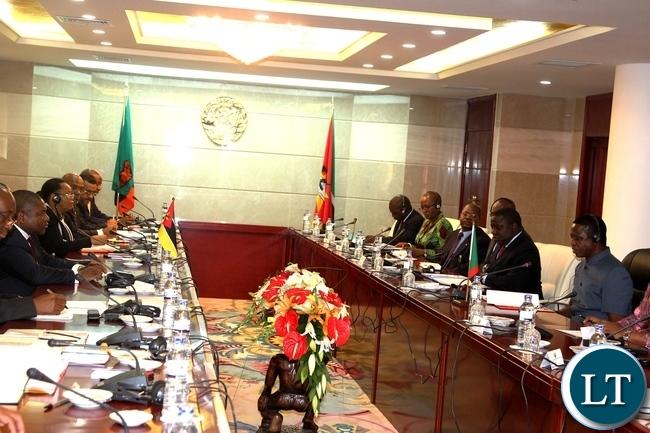President Edgar Lungu and his Mozambique counterpart Filipe Nyusi during official talks in Maputo