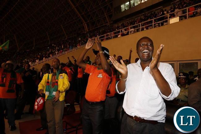 President Edgar Lungu celebrates the goal of Winston Kalengo during the Zambia Vs Congo match in Ndola Stadium