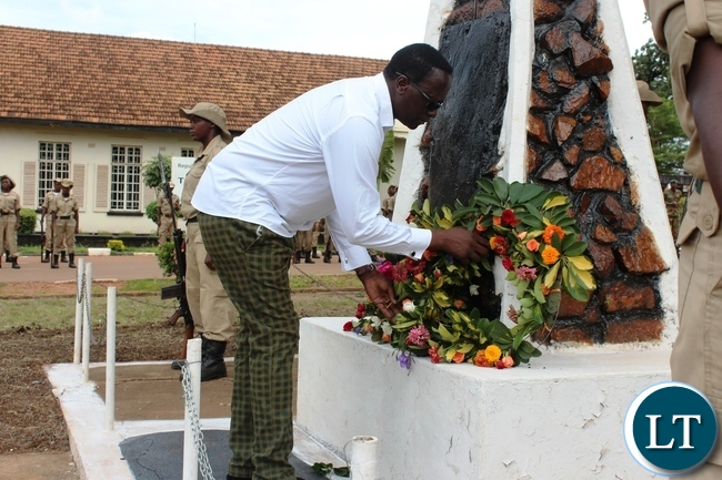 EASTERN Province Permanent Secretary, Chanda Kasolo, lays a wreath on a cenotaph during this year's Youth Day commemoration held at David Kaunda stadium in Chipata on Saturday. PICTURE BY STEPHEN MUKOBEKO/ZANIS