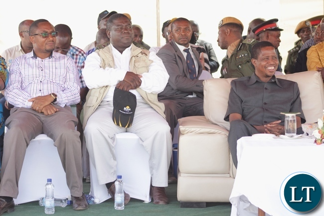 President Edgar Lungu (r), Works and Supply Minister Yamfwa Mukanga (c) and Defense Minister Richwell Siamunene (l) following proceedings during the official commissioning of the Sioma Bridge built at a cost of K108.2million in Sioma District of Western Province,