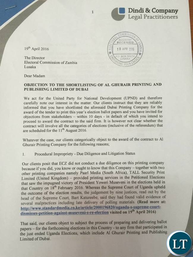 Dindi & Company's Letter to ECZ