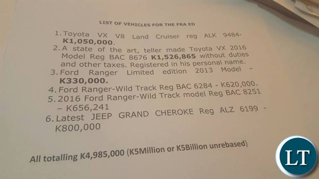 Documents showing Dr Kafwabulula's list of vehicles he allegedly owns