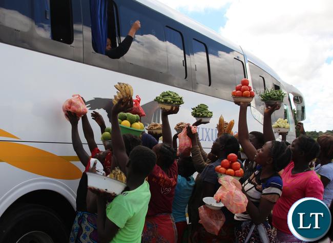 Food sellers along Choma- Monze