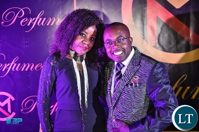Mubita Nawa with one of the guests at the launch event