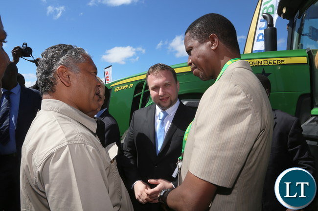 President Edgar Lungu at the Agrictech Expo in Chisamba with  the visiting Czech Republic  agric Minister Mr Marian Jurecja and Minister Given Lubinda at Agrictech Expo in  at GART Research Centre in Chisamba  on Friday- PICTURE BY EDDIE MWANALEZA/STATEHOUSE.