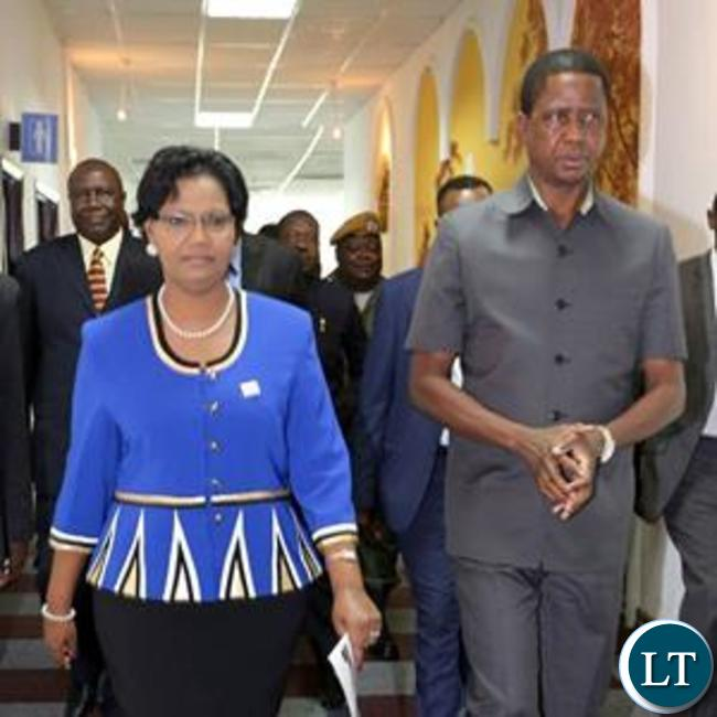 President Lungu with Dr Liya Mutale arriving at the launch event