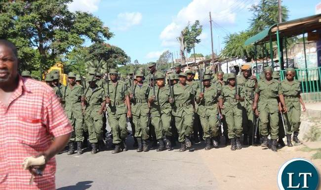 Zambia Police officers move in