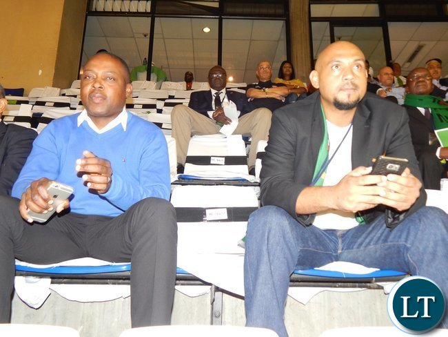 Former FAZ president Kalusha Bwalya (left) and delegation leader Lee Kawanu, follow proceedings during the Zambia - Tunisia game at Ellis Park Arena, Johannesburg, South Africa