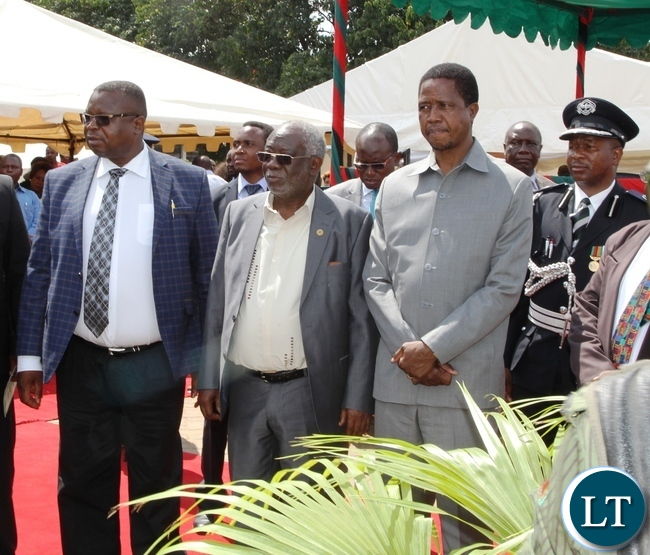 President Edgar Lungu (r), Labour Minister Fackson Shamenda (c) and ZCTU President Chishimba Nkole at Labour Day celebrations 2016 theme: Achieving National Development Through Productive Decent Work Sustainable Job Creation and Social Justice