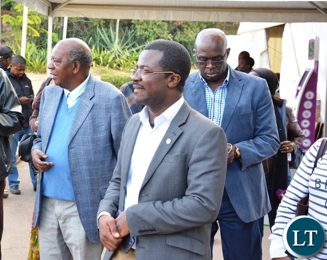 Victor Mensah Event Project Manager and Finance Minister Alexndre Chikwanda inspecting the venue of the Conference at Mulungushi Conference Center