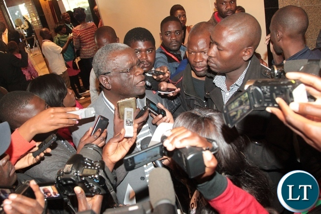 UPND Secretary General Stephen Katunka(c) having an interview with the Journalists immediately after the briefing of Aspiring Presidential Candidates,Running mates and their Agents at Intercontinental Hotel in Lusaka
