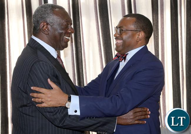 AFDB President Dr Akinwumi Adesina Greets Mr John Kufuor Lusaka