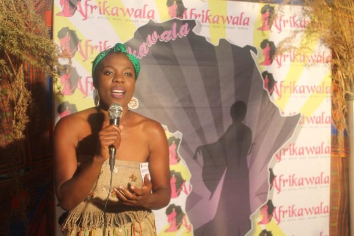 Karen Nakamba speaks during the Afrikawala Fashion Show