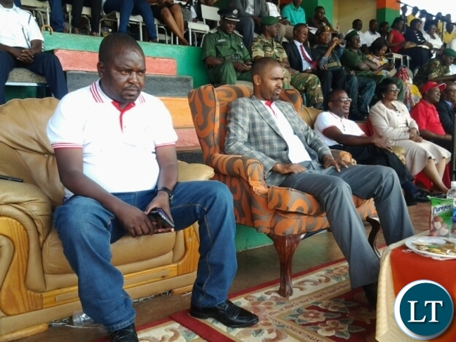 Zambia Congres of Trade Union(ZCTU ) deputy general secretary Misheck Nyambose and Sports Minister Vincent Mwale during the labour day celebration held at David Kaunda stadium in Chipata