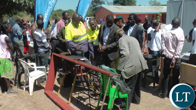 2. People from within the community access health checks at Barrick Lumwana mine stand during the 2016 Lumwana Business Fair held at Kauchi Cooperative Production Centre in Kalumbila District.